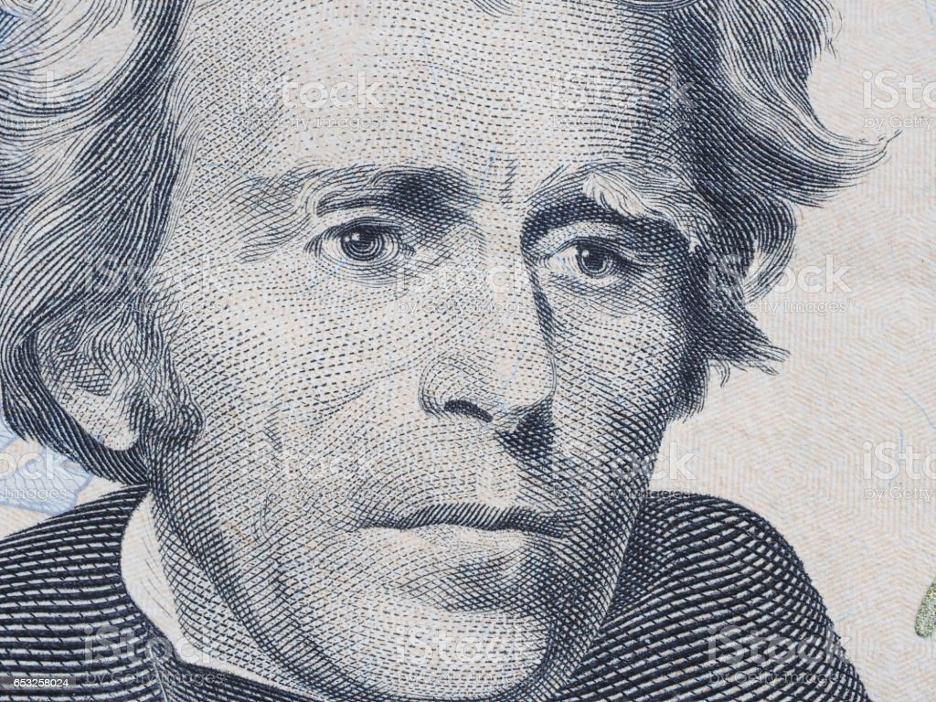 Macro of US dollar series, Andrew Jackson, a close-up portrait on US twenty dollars stock photo