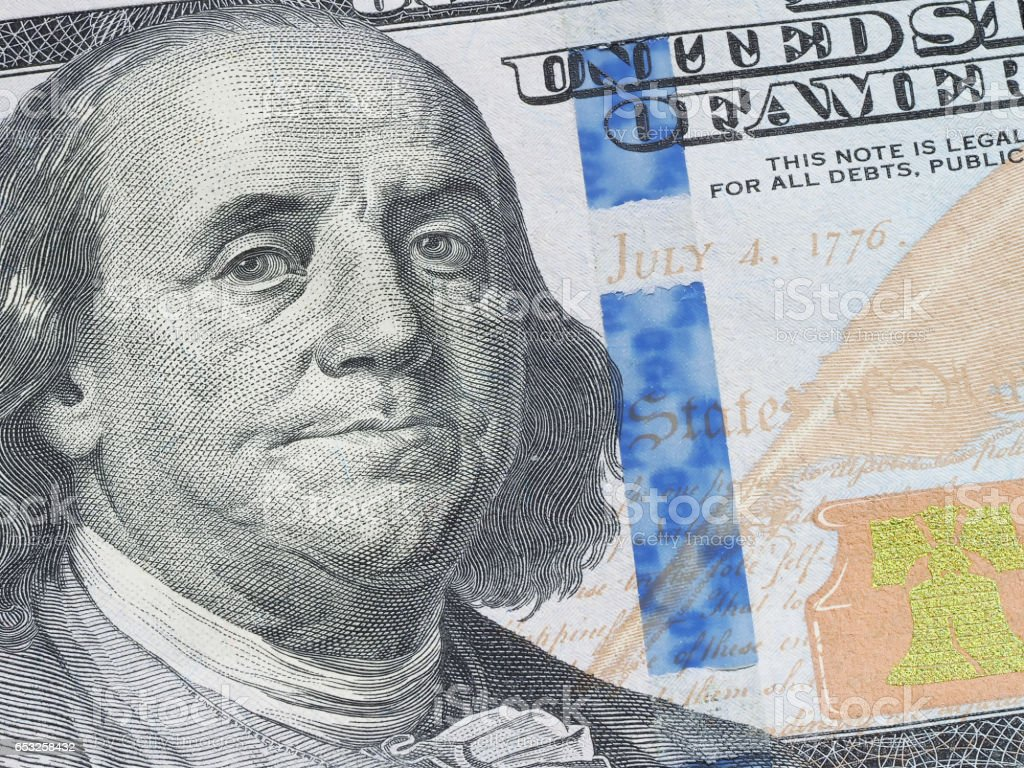 Macro of US dollar series, Benjamin Franklin, a close-up portrait on US hundred dollars stock photo