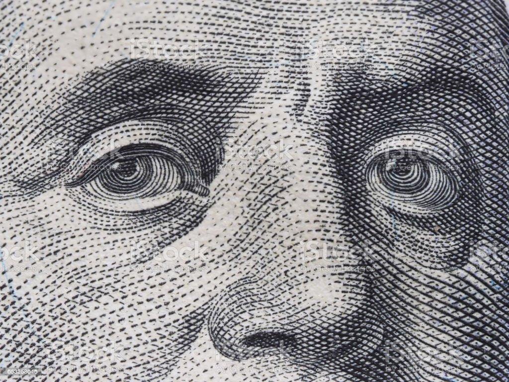 Macro Of Us Dollar Series Benjamin Franklin A Closeup Portrait On Us  Hundred Dollars Stock Photo - Download Image Now - iStock