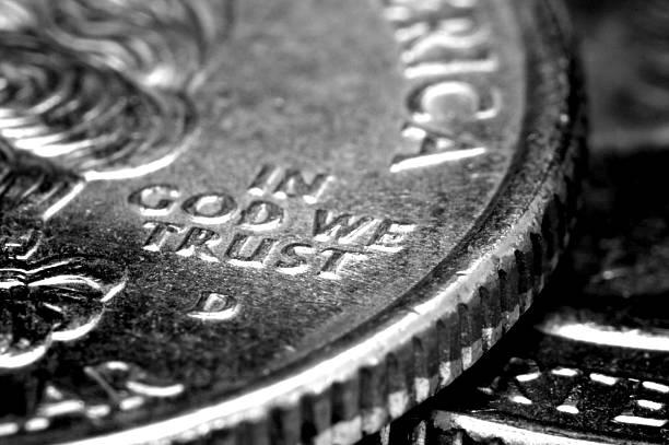 Macro of US Quarters stock photo