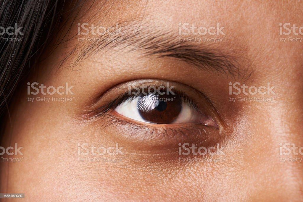 Macro of woman eye stock photo