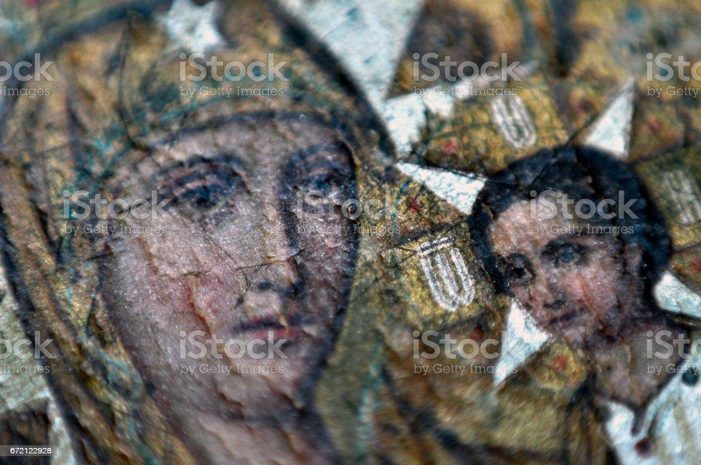 Macro photo miracle icon of the Virgin Mary fresco Christ stock photo