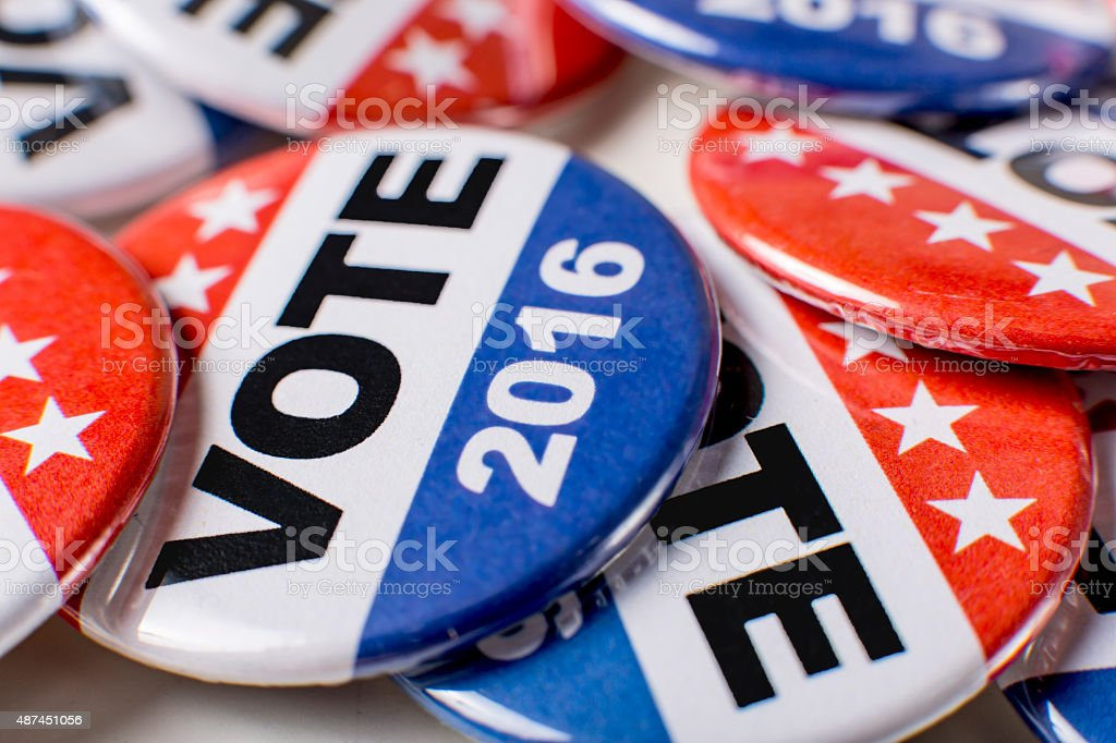 Macro Photo of 2016 Campaign Vote Buttons stock photo