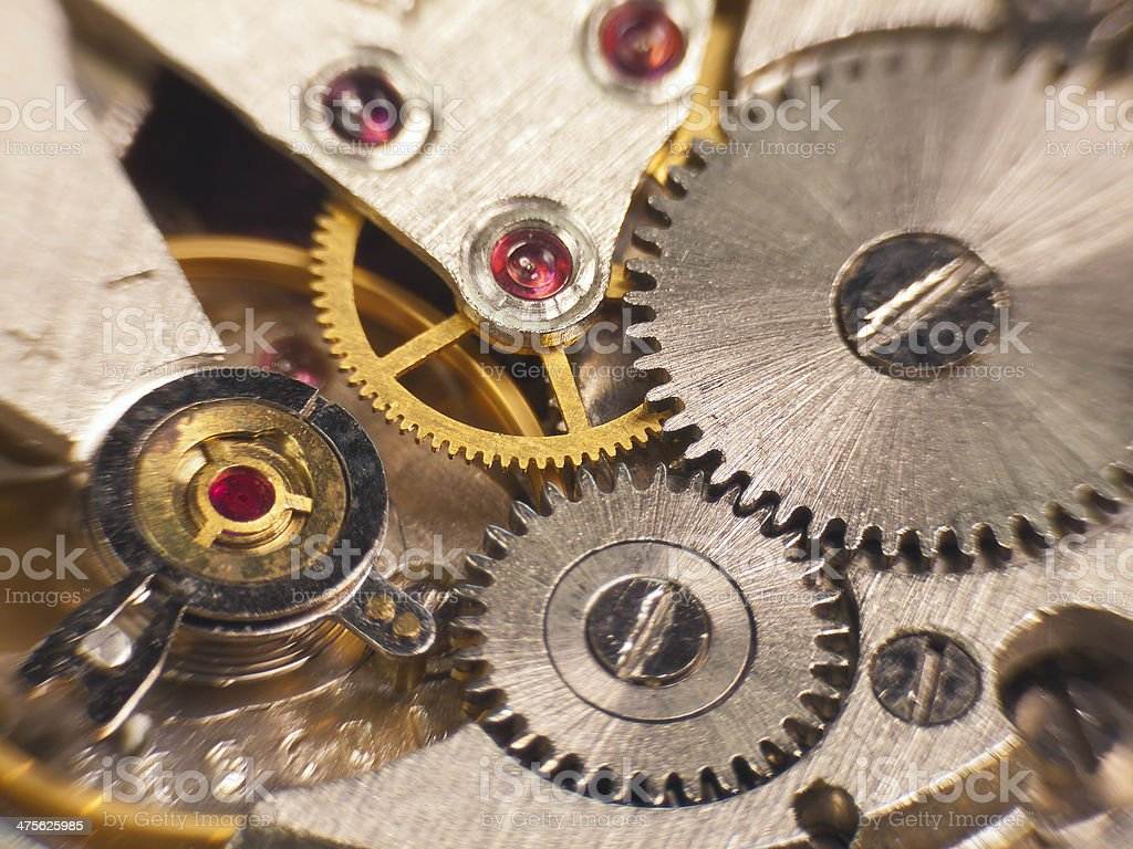 Macro photo of a watch the mechanism stock photo