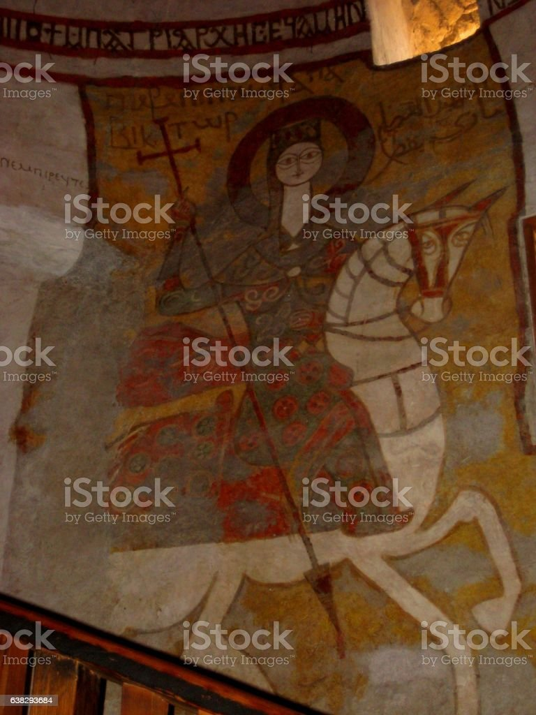 macro photo of ancient wall paintings of Christian Coptic monastery stock photo