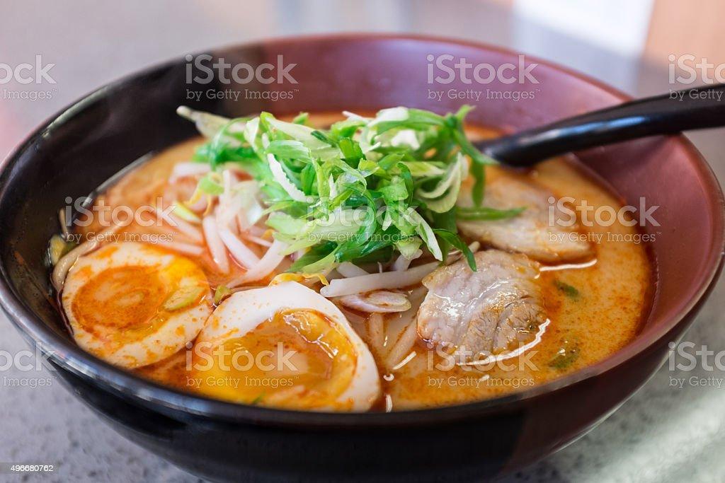 Macro photo of Japanese ramen noodle soup stock photo