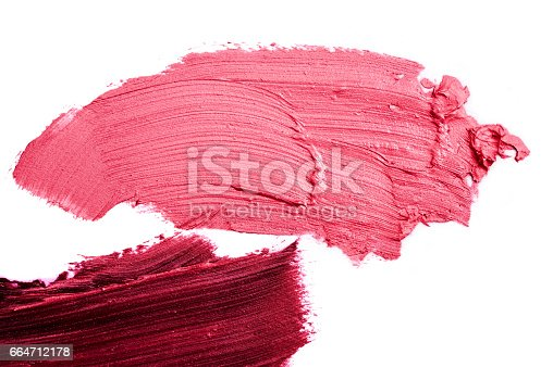 istock Macro photo of pink and purple smeared Lipstick 664712178