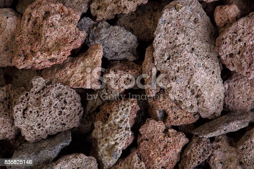 Macro photo of red volcanic lava stones. High resolution photo.
