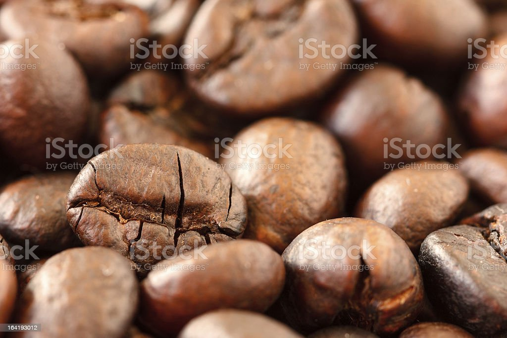 Macro photo of roasted coffee beans royalty-free stock photo