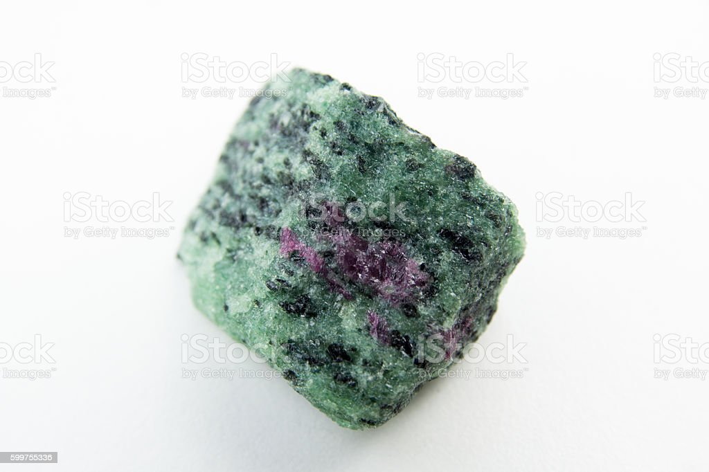 macro photo of ruby in zoisite stock photo