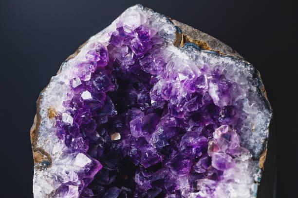 Macro photography of amethyst druzy stone stock photo