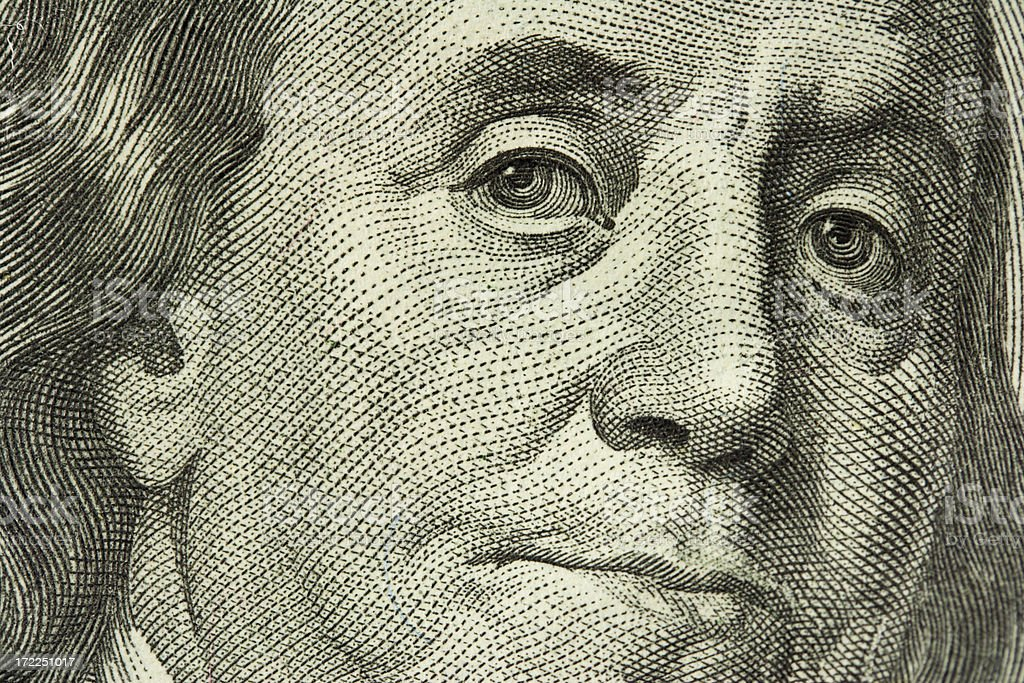 Macro Portrait of Ben Franklin stock photo