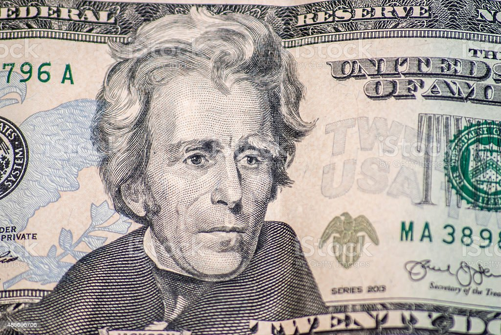 Macro portrait of Jackson on the US twenty dollar bill stock photo