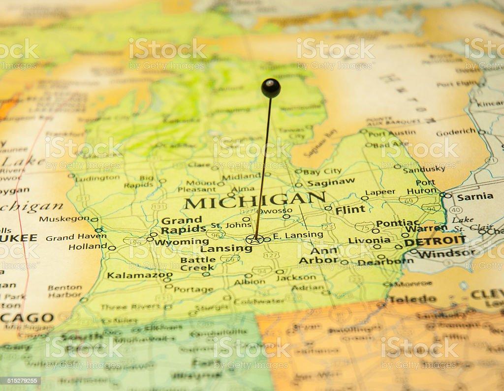 Macro Road Map Of Lansing Michigan And Detroit Stock Photo ...