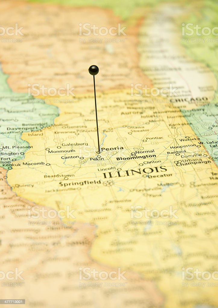 Macro Road Map Of Peoria And Springfield Illinois Chicago stock photo