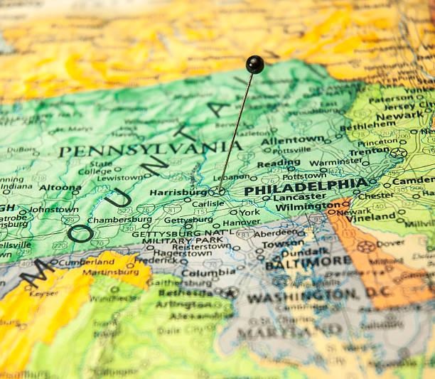 makro straßenkarte von philadelphia, pennsylvania und die mitgliedstaaten - karten de stock-fotos und bilder