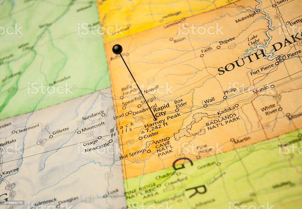 Macro Road Map Of Rapid City South Dakota stock photo iStock
