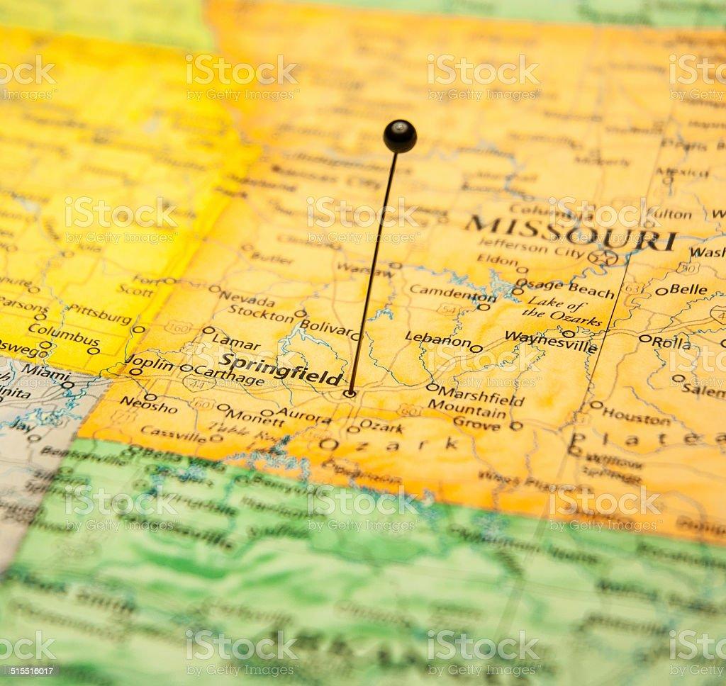 Macro Road Map Of Springfield Missouri stock photo
