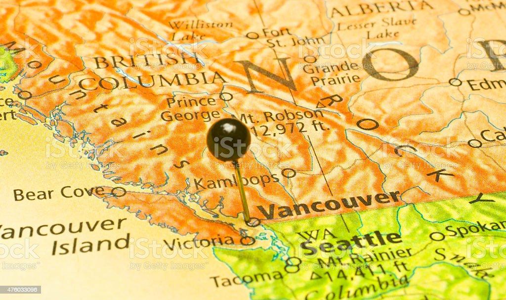 Macro Road Map Of Vancouver And Seattle Washington stock photo