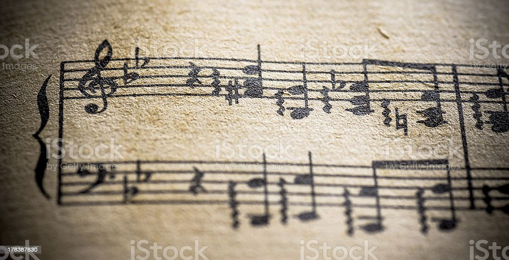 Macro Sheet Music Vintage Treble Bass Clef Classical royalty-free stock photo