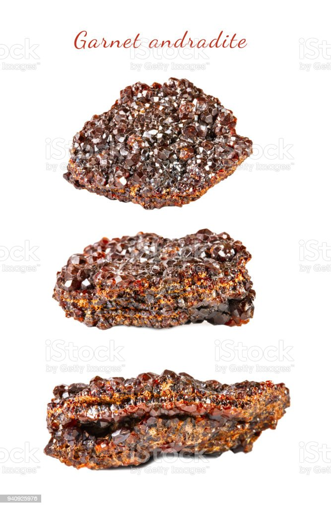 Macro shooting of natural gemstone. Raw mineral garnet andradite. Isolated object on a white background stock photo
