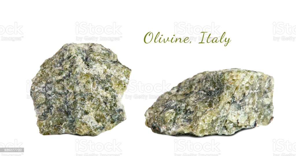 Macro shooting of natural gemstone. Raw mineral olivine. Italy. Isolated object on a white background stock photo