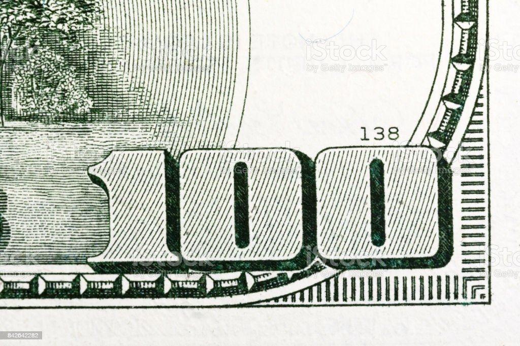Macro shot of 100 dollar bill US money stock photo