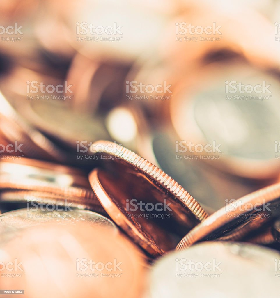 Macro shot of a pile of coins stock photo