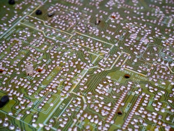 macro shot of a printed circuit board stock photo