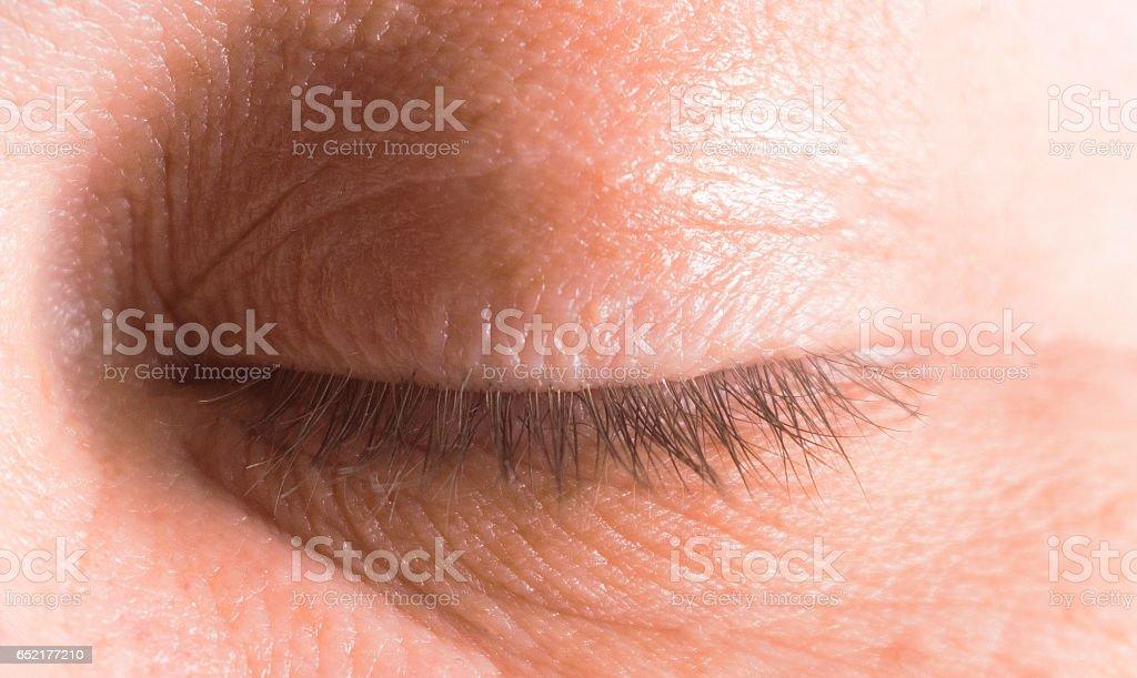 macro shot of a woman  sleepy closed eye, sleep, dreaming,  daydream, – Foto