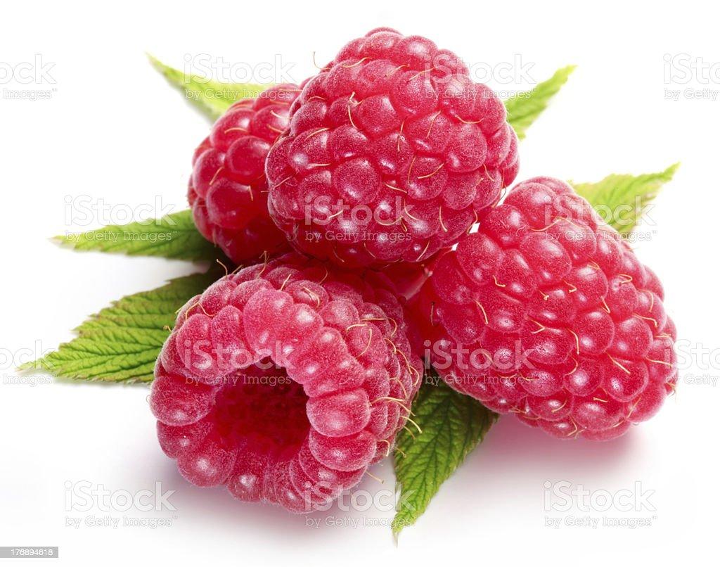 Macro shot of appetizing raspberries. stock photo