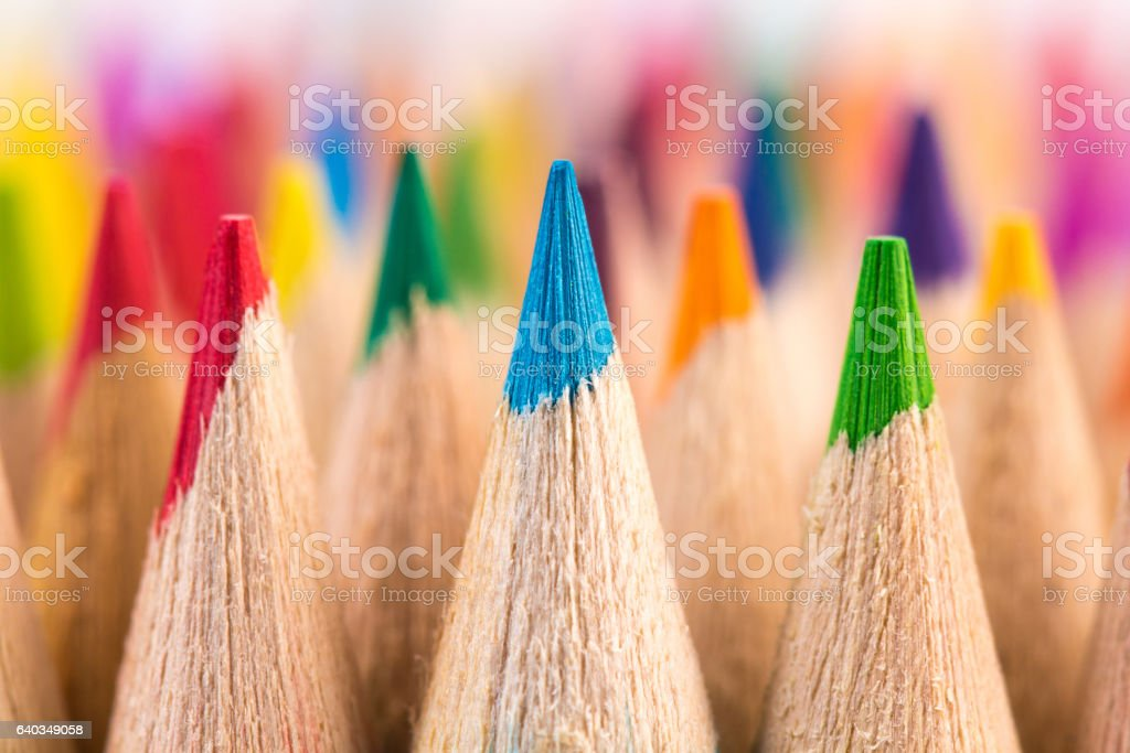 Macro shot of color pencil nibs stock photo