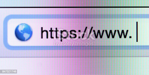 istock Macro shot of computer screen with https:// address bar and web browser 847321746