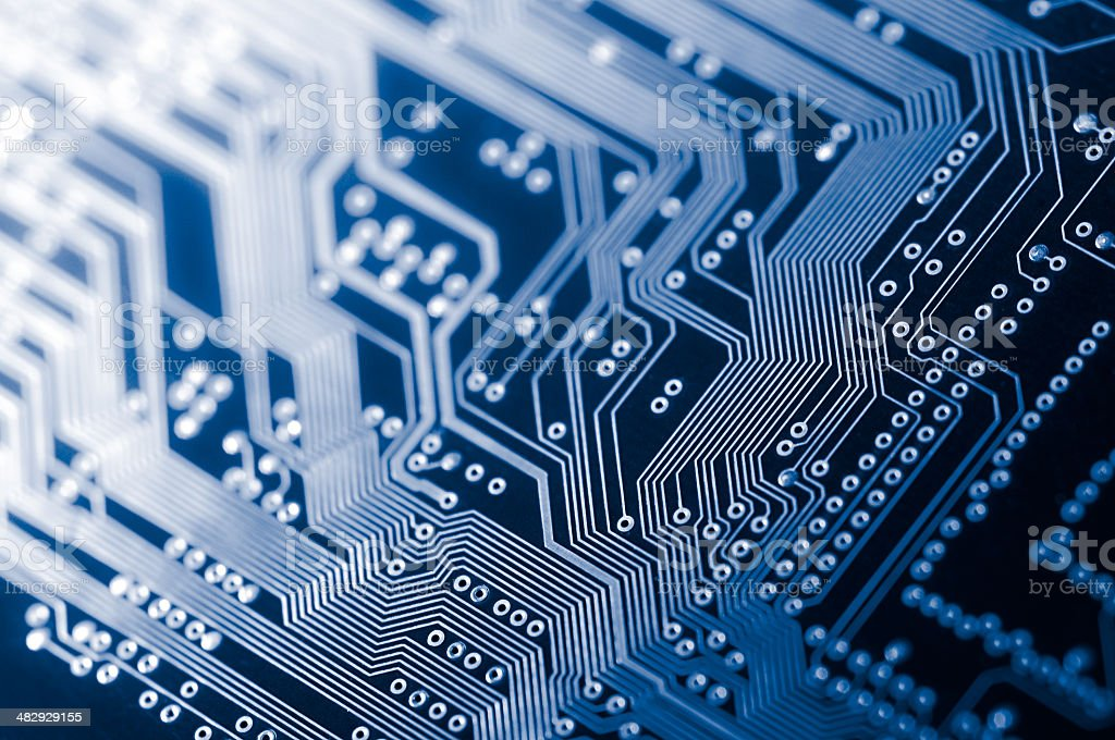 Macro shot of Electronic Circuit Board representing modern technology stock photo