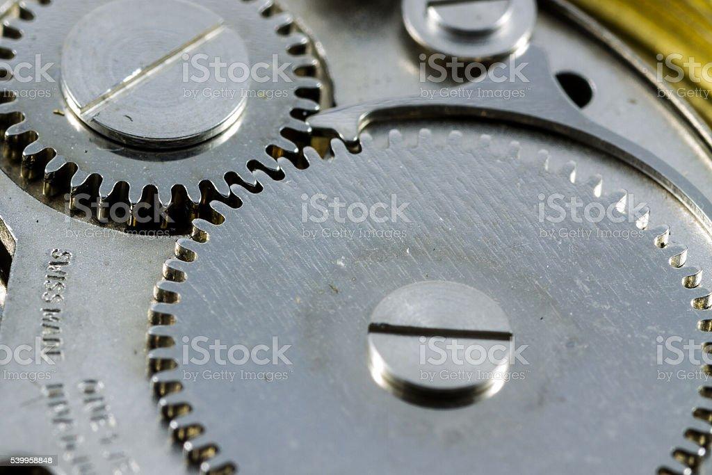 Macro shot of gears in a old wrist watch stock photo