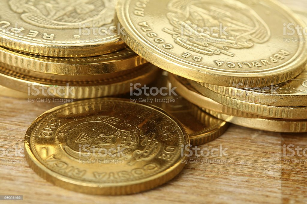 Macro Shot of Gold Coins royalty-free stock photo