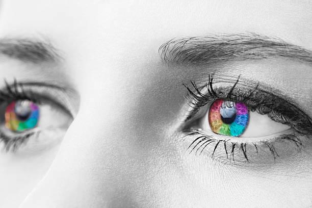 Macro shot of human eyes black and white edit stock photo