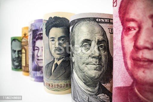 Bangkok, Thailand - July 24, 2019: Macro shot of international money include US American Dollar, Euro Currency, British UK Pound, Australian Dollar, China Yuan and Japan Yen.
