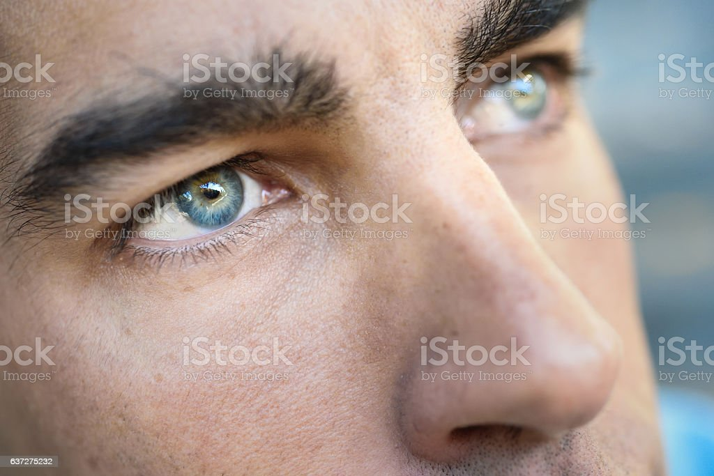 Macro shot of man's eye stock photo