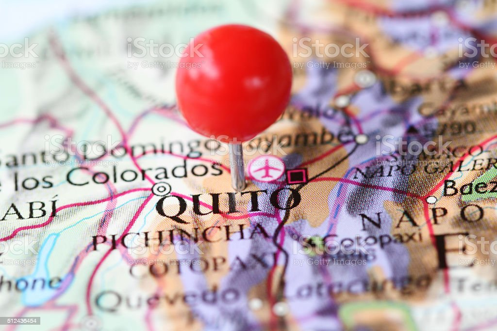Macro shot of push pin on map of Quito Ecuador stock photo