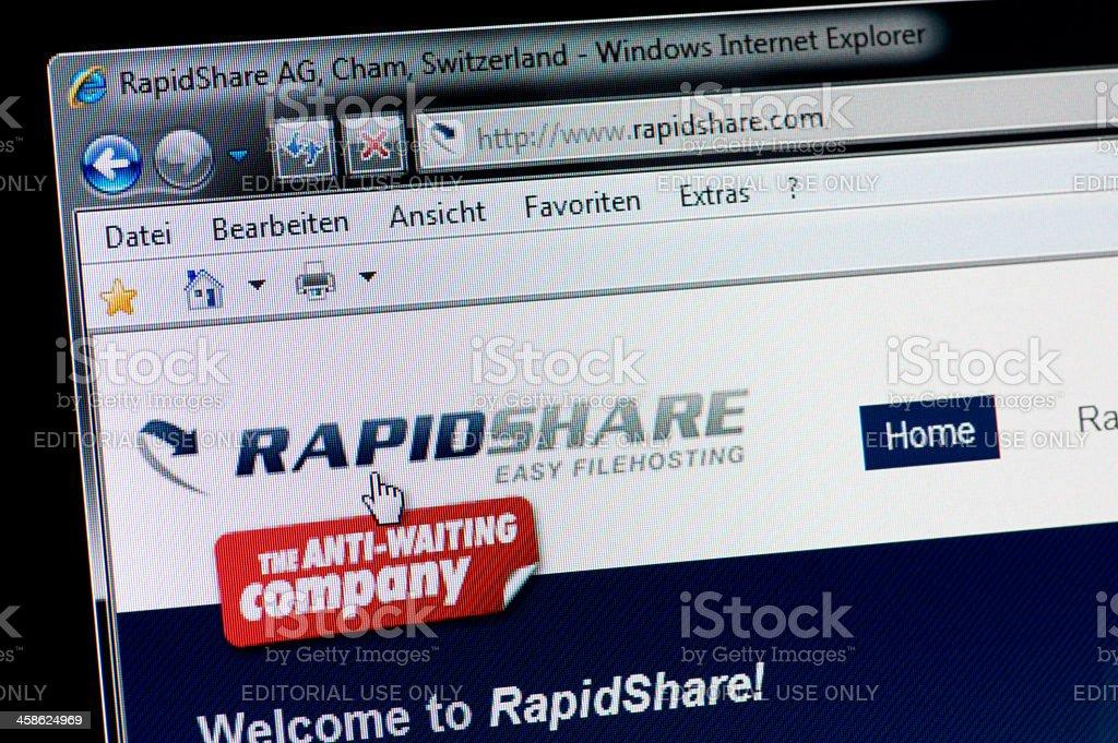 RAPIDSHARE - Macro shot of real monitor screen stock photo