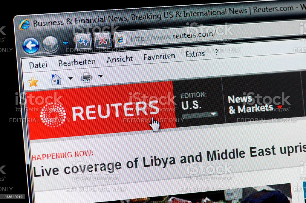 REUTERS - Macro shot of real monitor screen stock photo
