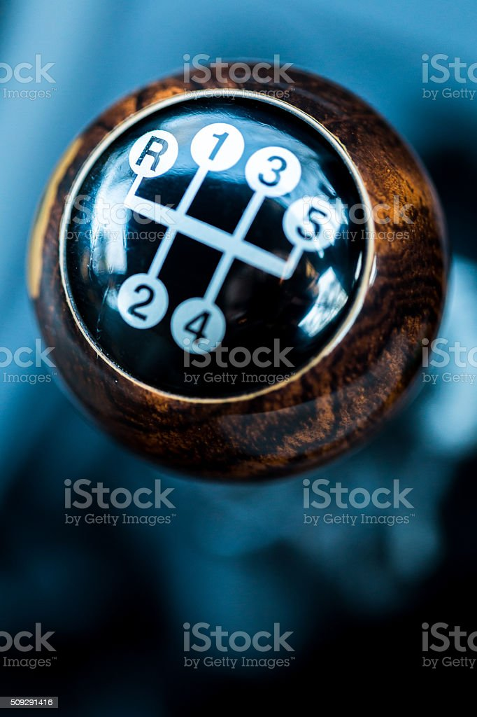 Macro shot of the head of a Gearshift Lever stock photo