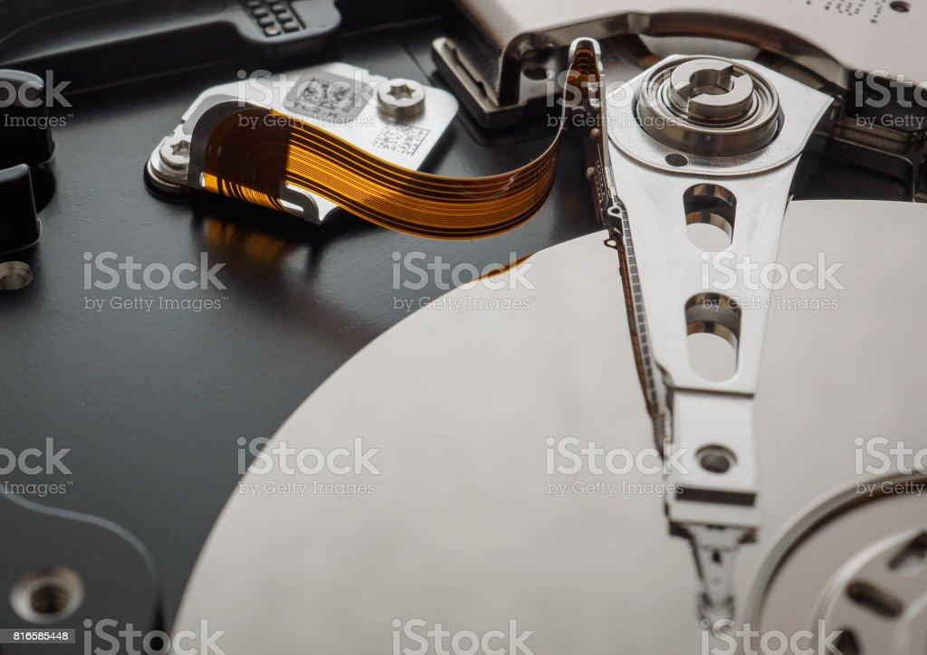 Macro shot of the mechanism of the hard drive stock photo