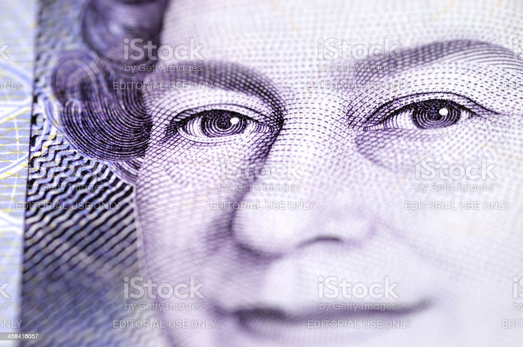 Macro shot of The Queen Elizabeth II on £20 note royalty-free stock photo