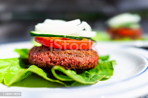Macro side closeup of vegan meat sausage patty on plate with romaine lettuce leaf and tomatoes cucumbers onions sliced for burger healthy serving