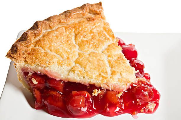 makro slice of cherry pie - kirschkuchen stock-fotos und bilder