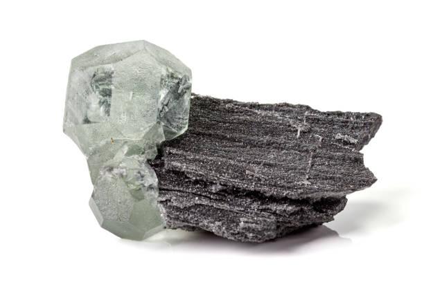 Cтоковое фото Macro stone Fluorite mineral on white background