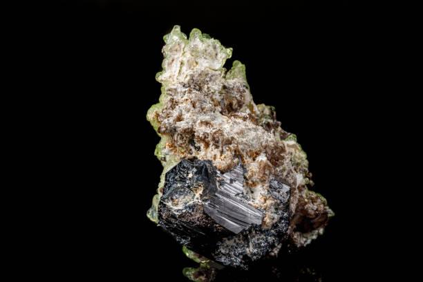 Cтоковое фото Macro stone Hyalite mineral, tourmaline Sherl, smoky quartz on a black background