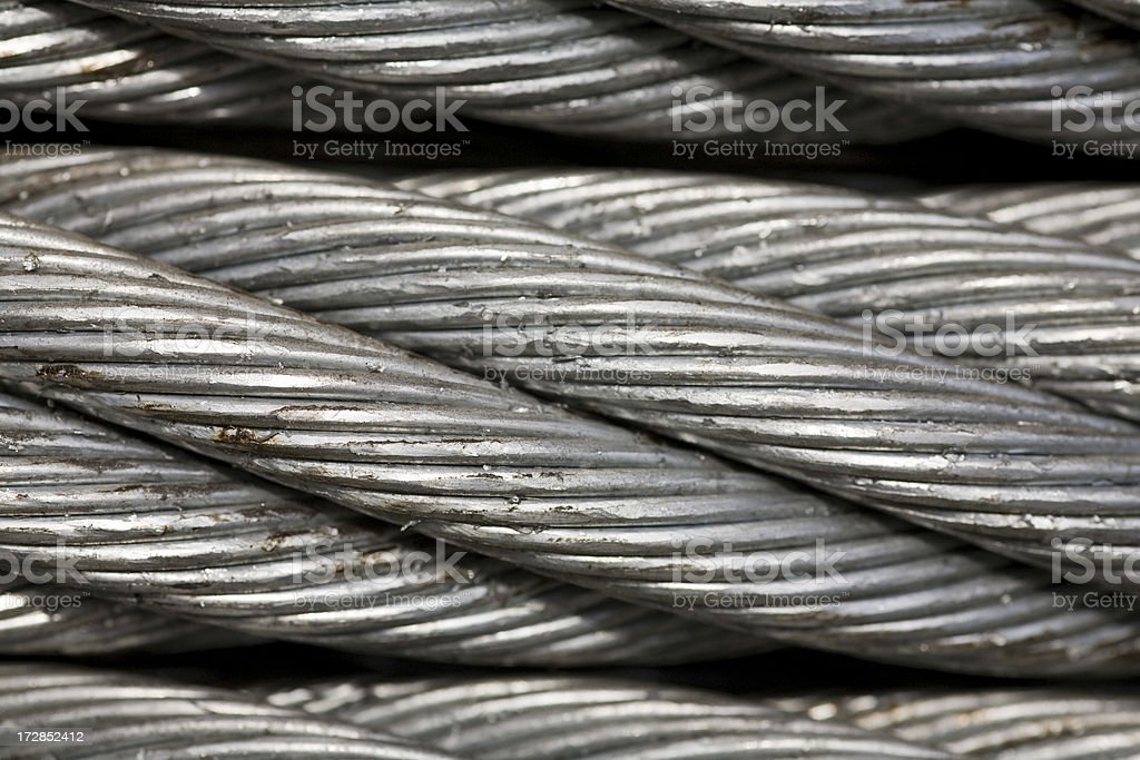 Macro thick metal cable stock photo